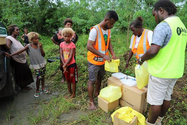 Oxfam and SIDT are partnering to distribute soap and containers of water to distant communities on Guadalcanal.