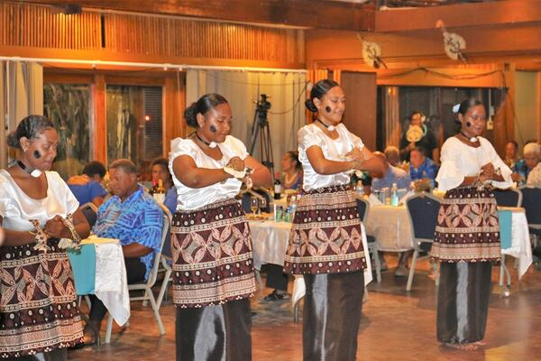 Fijian girls performing the Meke during the celebrations.