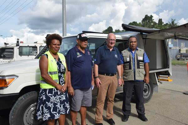 The handing over ceremony (L-R) DRM Project Manager Ms. Vini Talai, Director of NDMO Loti Yates, Australian High Commissioner H.E Dr Lachlan Strahan and MECDM Permanent Secretary, Dr Melchior Mataki.