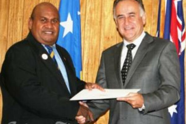 Australia's new High Commissioner to the Solomon Islands, Mr Frank Ingruber presents his official Letter of Introduction to Acting Prime Minister, Honourable Fred Fono.