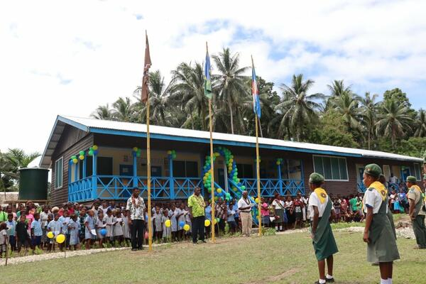 Over a hundred Ghombua residents, Chiefs, elders, church and community leaders, fathers and mothers with their children gathered in great excitement to witness the historic moment for their community, the opening of their new Rural Health Clinic (RHC)