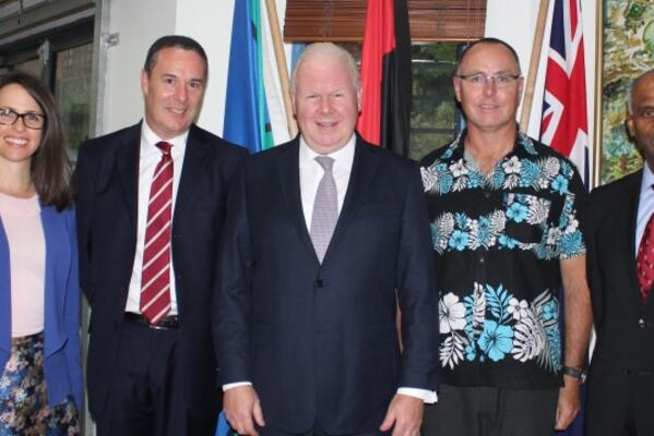 From left-right – EA to Group ANZ Jo Mickleus, CEO ANZ Solomon Islands , Geoffrey Buchanan, ANZ Group CEO, Michael Smith, Australian High Commissioner to Solomon Islands Andrew Byrne and ANZ Pacific & Fiji CEO, Vishnu Mohan.
