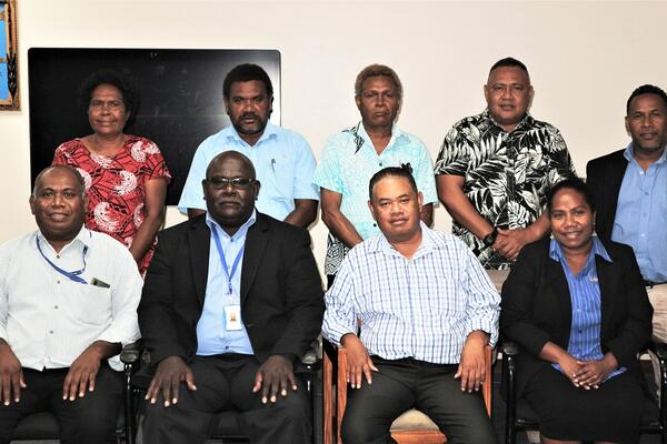 The Solomon Islands Credit Union League board with the CBSI Deputy Governor.