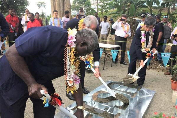 Prime Minister Manasseh Sogavare, flanked by Asian Development Bank President Mr Takehiko Nakao, and USP Pro Vice Chancellor Mr Winston Thompson during the ground breaking ceremony in 2017.