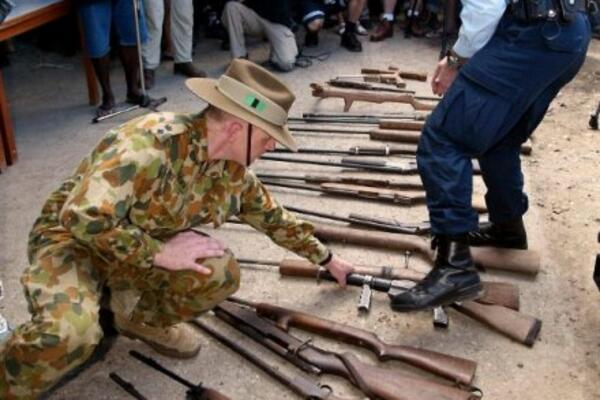 In 2000, under the terms of the Townsville Peace Agreement, the Regional Assistance Mission to the Solomon Islands (RAMSI) launched its first gun amnesty. This aimed to collect and destroy between 2,640 and 3,520 illegally held, mass-manufactured small arms.