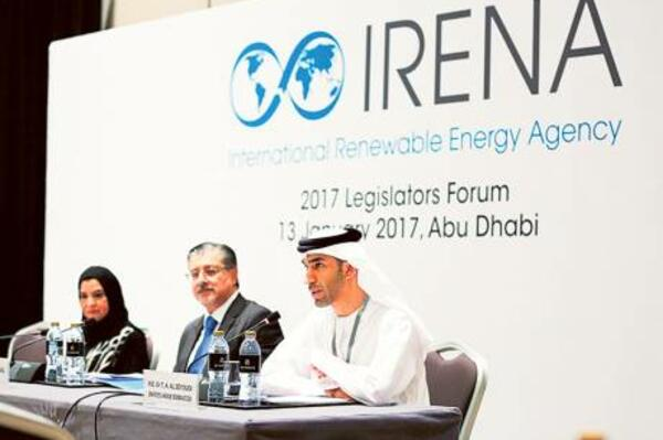 Dr Amal Abdullah Al Qubaisi, Federal National Council Speaker; Dr Thani Ahmad Al Zeyoudi, Minister of Environment and Climate Change; and Adnan Z. Ameen, Director-General of Irena, during the agency's 2017 Legislators Forum in Abu Dhabi yesterday.