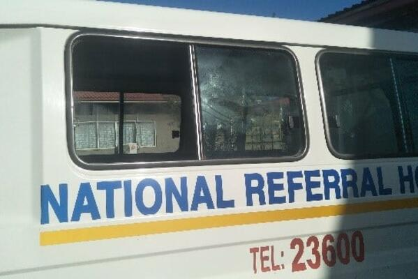 Back glass of an NRH ambulance shattered after being ambushed by thugs during the lockdown.