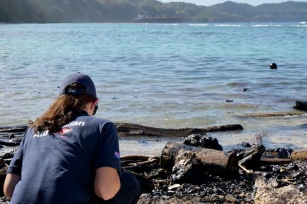 An Australian Embassy official surveys oil spill damage to the shoreline of Rennell Island.