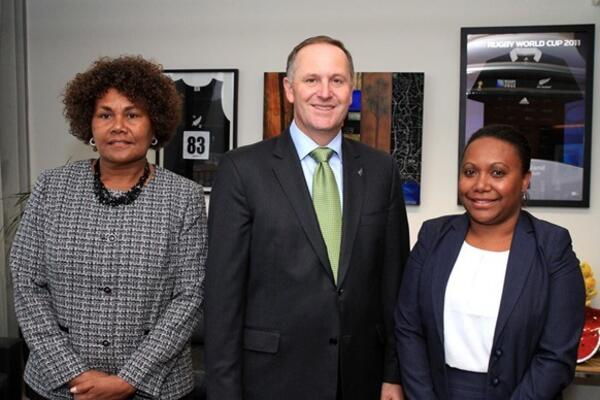 Her Excellency Joy Kere, Prime Minister John key and MFAET representative Ms Fiona Indu at the Prime Minister's Office after the presentation ceremony on Wednesday.