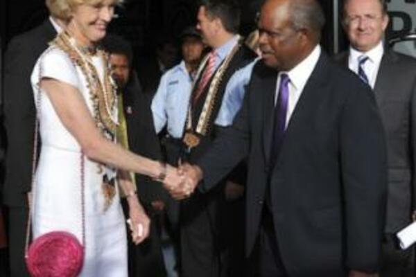 Visiting Australian Governor-General, Ms Quentin Bryce, farewelled by the Speaker of Parliament, Sir Allan Kemakeza.