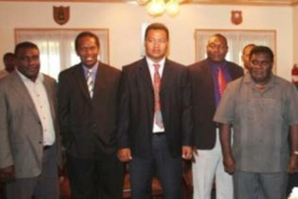 PM Philip and Finance Minister with some of the MPs that were sworn in.