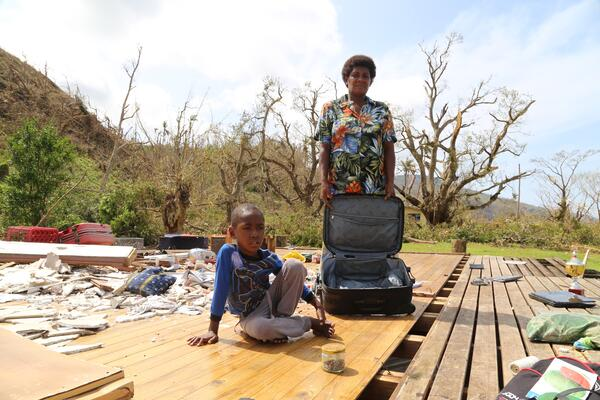 On 24 February 2016, Salome Ululagi stands in the remains of her house destroyed by Tropical Cyclone Winston in Tavua Village, Koro Island, Fiji.