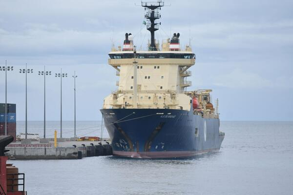Cable-laying ship, Ile de Brehat at the port of Honiara.