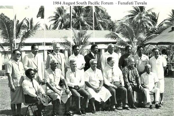 Leaders of the then South Pacific Forum during its meeting in Funafuti, Tuvalu, in 1984.
