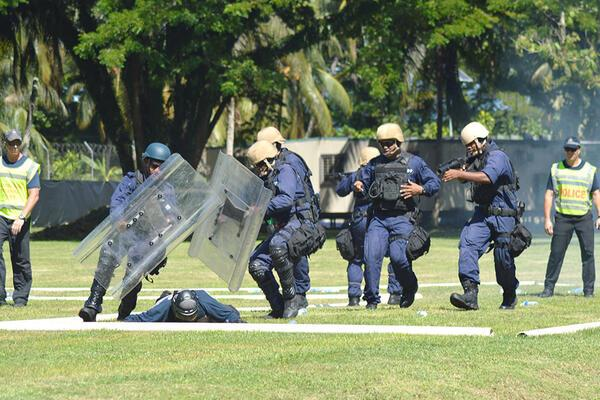Members of the RSIP Response team at training under the Regional Assistance Mission to Solomon Islands.