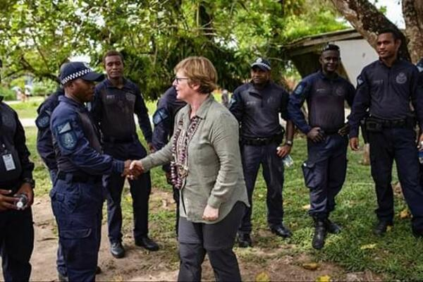 Australian Defense Minister, Hon. Linda Reynolds meets PRT officers participating in the Exercise Coastwatchers 2019 at Taro.