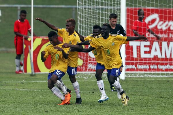Solomon Island team celebrates after the win.