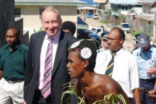 Sir Albert Palmer CBE, who officially opened the court house with the unveiling of a carving of the Solomon Islands coat of arms, described it as 'the face of justice' in the country.