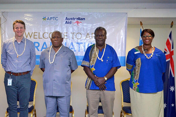 L-R: Australian High Commissioner to Solomon Islands, HE Mr Roderick Brazier; Caretaker Prime Minister of Solomon Islands, Hon Rick Houenipwela; APTC Country Director for Solomon Islands and Kiribati, Mr Donald Malasa; APTC Deputy CEO - Strategy and Effectiveness, Ms Lori Banks Dutta.