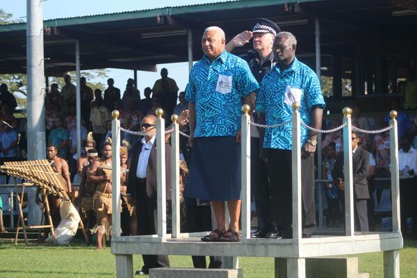 Fiji's Prime Minister, Hon. Voreqe Bainimarama and Solomon Islands Prime Minister, Hon. Sogavare during the 4th PIDF Opening Ceremony.