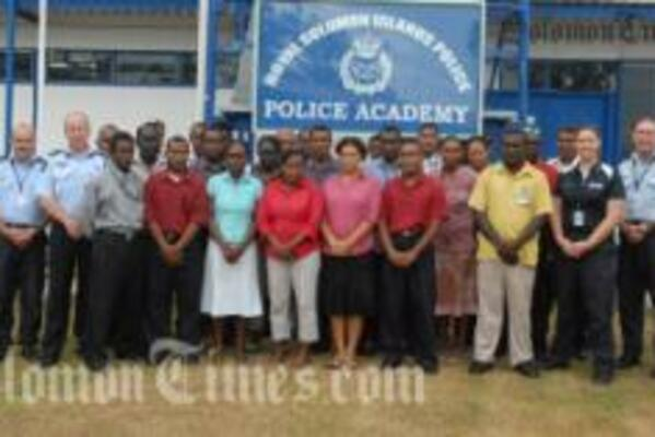 Customs and Immigration participants at the launch of the 2009 Basic Intelligence Course at the Police Academy, Rove.