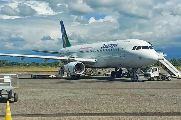 Solomon Airlines touches down with the AstraZeneca vaccine.