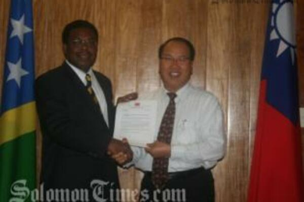 Ambassador of the Republic of China (Taiwan) to Solomon Islands, H.E. George Chan with Prime Minister Dr. Derek Sikua.