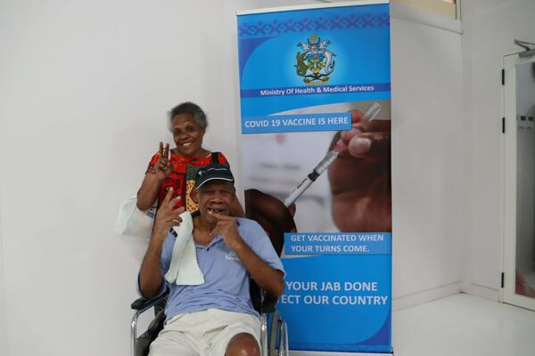 65 years old Allen Waokea from Santa Ana, Makira Province with underlying health condition and his wife received their first COVID-19 jab.