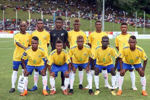The Solomon Islands U17 team at the OFC U16 Championship in 2018.