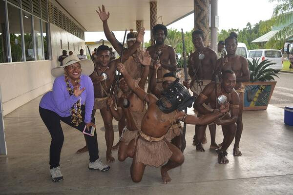 High-profile American actress and comedian Jenifer Lewis receiving a traditional Solomon Islands greeting on arrival at Honiara International Airport.