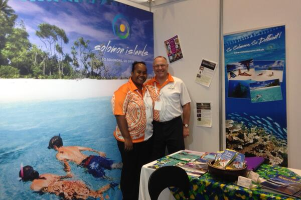 SIVB team participating at the 2015 Travel Industry Exhibition in Sydney, from left, SIVB marketing officer, Stella Lucas and SIVB Australia & New Zealand marketing representative, Richard Hankin.