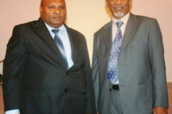 The new Permanent Secretary for the Ministry of Forestry, Gordon Koniaramo and new Auditor General, Edward Ronia.