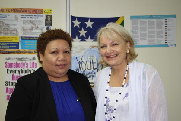 Ambassador for Women and Girls Dr Sharman Stone and Minister for Women, Youth Children and Family Affairs the Hon Freda Soriacomua.