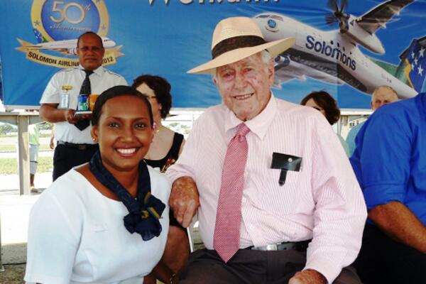 The late Laurie Crowley with a staff of Solomon Airlines during his recent visit.