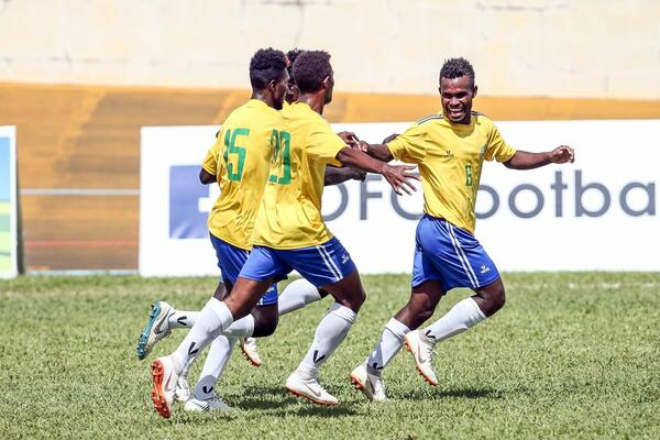 Patrick Taroga celebrates his goal against Vanuatu.