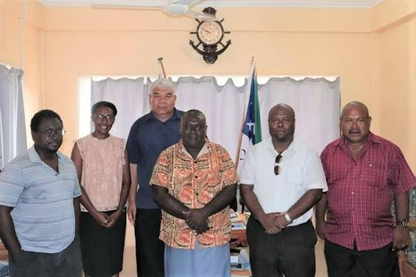 From left MHMS Under Secretary Health Care Dr. Gregory Jilini, Health Legal Officer Yvonne Ogaoga, MPNS Deputy Secretary Maktas Forau, Premier of Western Province Hon. David Gina, Attorney-General John Muria Jr. and Provincial Secretary Western Province Jeffery Wickham.
