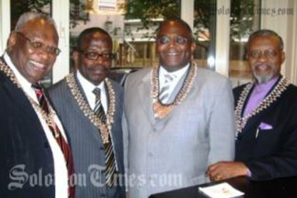 ACP Secretary General Sir John Kaputin, left, with African diplomats wearing Solomon Islands' necklaces in Brussels.