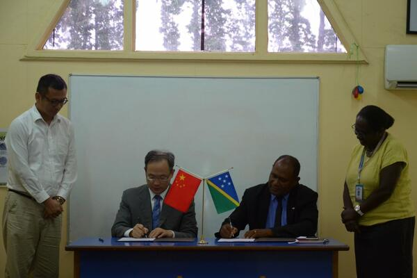 The handing over was formalized with the signing of the transfer document by the PRC's Ambassador to Solomon Islands, Mr Li Ming and Health Minister Honourable Dr Culwick Togamana.