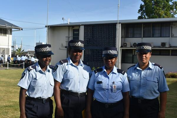 Sergeants Teku (2nd left) and Manataia(3rd left) with two other female colleagues after the promotion ceremony.