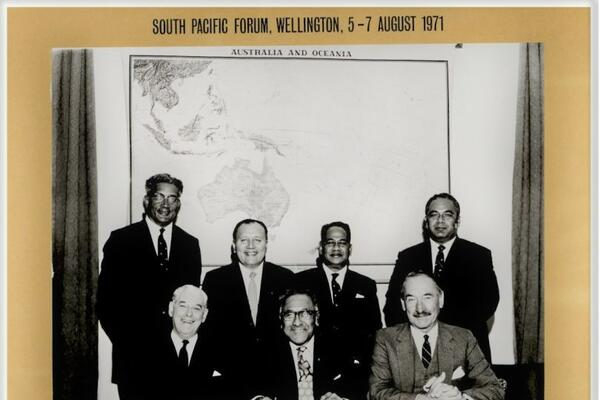 The first meeting of the South Pacific Forum in Wellington, New Zealand, in 1971.