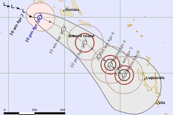 Harold a Category one cyclone is moving towards Rennel and Bellona and gaining strength.