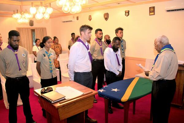 Dr Jones took his oath before the Chief Scout of Solomon Islands Scout Association, Sir David Vunagi at the Government House.