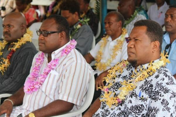 The Deputy Prime Minister (M) together with Malaita's Premier (L) and the Director for Health Services (R)in Malaita over the weekend.