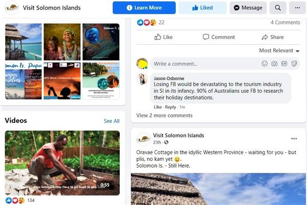 """""""We view social media as a key vehicle with which to maintain our tourism profile in the current COVID-19 environment which has seen our international visitation grind to a complete halt,"""" Tuamoto said."""