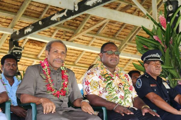 Makira-Ulawa Province Premier, Thomas Weape and Acting Prime Minister, Hon. Manasseh Maelanga in Kirakira last week at the Province's 31st Second Appointed day.