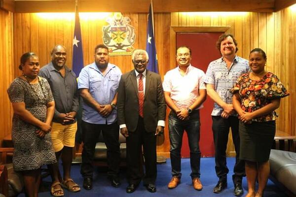 Representatives from SICCI and Prime Minister Hon Manasseh Sogavare.