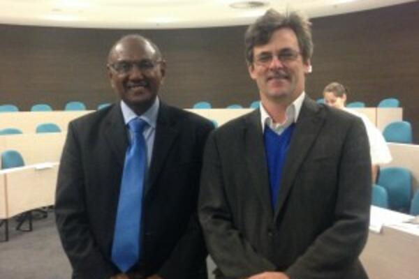 Minister of Foreign Affairs and External Trade of the Solomon Islands, The Hon. Milner Tozaka, with Development Policy Centre Director Stephen Howes after the roundtable.