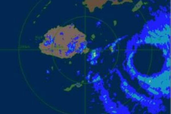 Radar image showing the relatively large eye of TC Tomas.