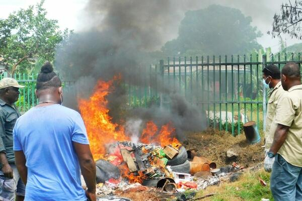 The goods were destroyed at the MAL Biosecurity Quarantine site at Ranadi, East Honiara.