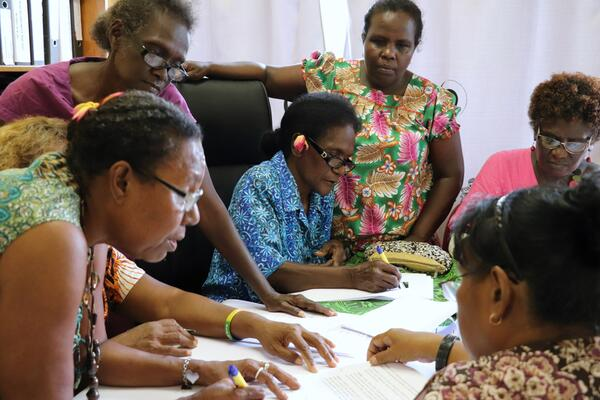 Women from Western Province at a dialogue prep session.